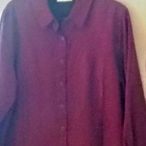 Large Faux Suade Button Down Shirt